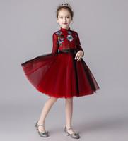 Abiti rosso pageant della ragazza di applique di bellezza rosso / nero Abiti Flower Girl Abiti da festa principessa Gonna bambino Custom Made 2-14 H316432