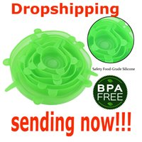 Tencere Mutfak Aksesuar 6adet Dropshipping Silikon Stretch Kapaklar Gıda Wrap Bowl Pot Çıtası Pan Evrensel Silikon Kapak