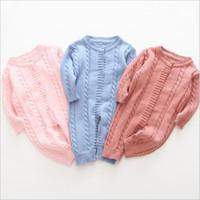 Sweater Baby rompers Crianças Sólidos malha Macacões infantil Algodão Plain Onesies Boutique recém-nascido Moda Bodysuits Toddle Suba Roupa C7162