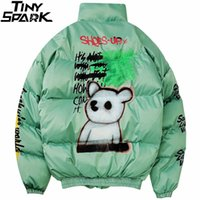 2019 Hip Hop Jacke Parka Spray Graffiti Street Männer Windjacke Harajuku Winter-Steppjacke Mantel Warm Outwear Bär LY191225 Malen