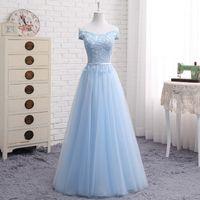 Off The Hombro Vestidos de dama de honor largos con encaje vestido de fiesta de boda Blush Pink Sky Blue Champagne