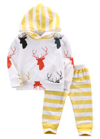 2PCS unisexe cerfs communs Ensembles bébé enfants Imprimer mignon manches longues à capuche Tops T-shirt + Pantalons cerf Ensembles d'impression