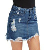 LASPERAL donne blu strappato casuale mini pannello esterno del denim 2018 di estate di nuovo aderente Gonna Donne tasca dei jeans di base metà di vita