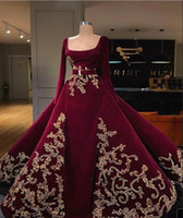 Burgundy Elegant Prom Dresses Square Neck Long Sleeve Lace A...