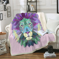 BeddingOutlet Purple Diamond Lion Printed Velvet Plush Throw...