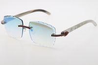 Atacado Rimless Red Stones Big Sunglasses Óculos Ópticos 3524012-A Branco Genuine Buffalo Chifre Óculos de Alta Qualidade Esculpida Lense Eyewear Unisex