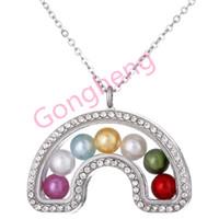 K1443 Arcobaleno può aprire colore argento perla perline gabbia con strass collana di ciondoli medaglione galleggiante in vetro magnetico donne