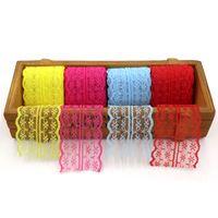 Colorful pacchetto regalo Pizzo Nastri 2m Confezione Regalo 4,5 centimetri nastro largo nastro del merletto del cavo di Trim tessuto DIY ricamato netto personalizzabile VT0433