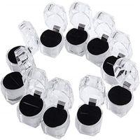 Klare Kunststoff Ring Ohrringe Display Boxen Anhänger Perlen Aufbewahrung Organizer Boxen Paket Fall Geschenk Schmuckschatulle