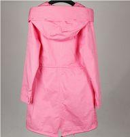 chaquetas largas del resorte rosado Maomaokong marca mujeres de la lona de las señoras trinchera abrigos con capucha con cremallera YKK