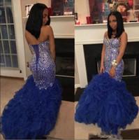 2019 Black Girls Royal Blue Vestidos de baile Cuello cariño Brillante Con cuentas Cristalino Sirena Volantes Faldas Lace Up 2k 17 19 Vestido de noche formal