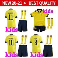 Швеция футбол Джерси дети футбол наборы 20 21 Европейский Кубок Майо-де-футовый Форсберг Линделоф Guidetti Ибрагимович футболок