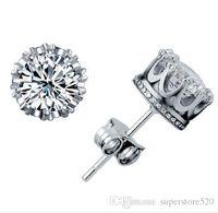 2021 Crown Wedding Stud Pendiente 925 Silver Silver CZ Diamantes simulados Compromiso Hermosa joyería Cristal Oreja Anillos