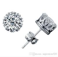2021 Crown Wedding Stud Brinco 925 Sterling Silver CZ Simulado Diamantes Noivado Bela Jóias Cristal Areias De Cristal
