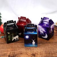 caja de dulces de Navidad resplandor de bricolaje caja de regalo alces diseño de la estrella de dibujos animados de Navidad copo de nieve resplandor paquete de la manzana 4 estilos