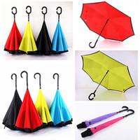 Creativo doppio strato Pongee impermeabile ombrello pieghevole inverso Creativo pieghevole tipo C protezione solare Umbrella portatile DH0881