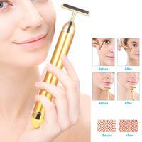 Massageador de rosto 24k Energia de ouro Barra de beleza pulso firmando cuidados com a pele enrugamento de rugas de vibração emagrecimento rolo facial com caixa