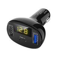 전화 태블릿에 대한 C02 듀얼 USB 차량용 충전기 급속 충전 타입 C + QC3.0 자동차 충전기 휴대용 전화 빠른 충전기 전압 디스플레이
