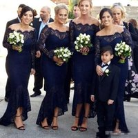 Vintage Lace Navy Blue Mermaid Bridesmaid Dresses Off the Sh...