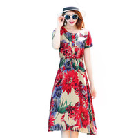 Abito estivo donna 2019 Bohemian Floral o-neck Beach Dress Vestito estivo Abiti donna partito 5XL