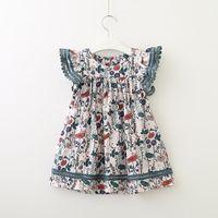 فتاة الاطفال ملابس الصيف اللباس الكاملة طباعة الياقة المستديرة الكشكشة اللباس فتاة الربيع خريف الملابس اللباس