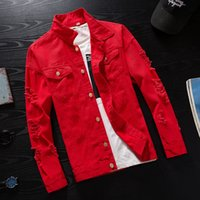 #7414 Spring 2019 Pink Red Black Hip Hop Denim Jacket Men Wi...