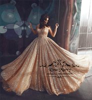 Rose Gold Sequined Arabic Prom Dresses 2019 A Line Plus Size...