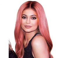 LIN MAN Ombre Pink Color Lace Front Human Hair Wig with Baby...