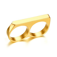Neue Männer Doppelfinger Ringe Hip Hop Edelstahl Gold Überzogene Ringe Hohe Qualität Schmuck für Männer