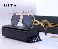 1227 새로운 럭셔리 선글라스 남자와 여자 디자인 금속 빈티지 선글라스와 사각형 프레임 리무선 UV 400 상자