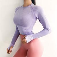 Женские розовые бесшовные с длинными рукавами Crop Top Yoga рубашки с отверстием для большого пальца Бег Фитнес-тренировки Бесшовные топ рубашки