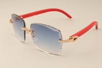 19 nouvelle usine de lunettes de soleil de diamants de la mode de luxe directe 3524014-C lentille de gravure rouge de lunettes de soleil en bois naturel or coutume privée / argent