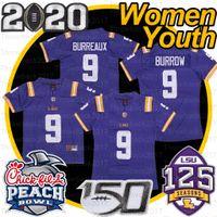 Mulheres Juventude Lsu Tigers Joe Burrow # 9 150th 2019 Pêssego Tigela 2020 Patch Footble Jerseys roxo
