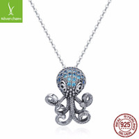 Cute Design Sterling Silver Octopus Pendant Necklace With Bl...