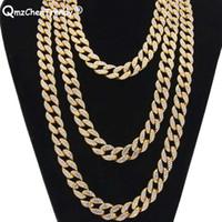 Top Qualité De Luxe Simulé Diamant Bling Strass Miami Cuban Lien Chaîne Hip Hop Collier Bijoux Largeur 15mm largeur