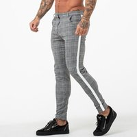 Men Sport Trousers Tracksuit Bottoms Skinny Sweat Plaid Pant...