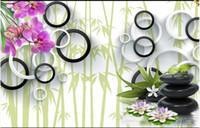 Пользовательские фото обоев 3D настенных фресок обои цветок фреска для гостиной 3D Круг Phalaenopsis Бамбук Лотос обоев живописи декора