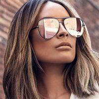 Silah Pembe Güneş Gözlüğü Gümüş Ayna Metal Güneş Gözlükleri Marka Tasarımcısı Pilot Güneş Gözlüğü Kadın Erkek Shades Üst Moda Gözlük Lunette