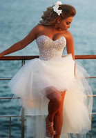 Custom Made New Style Sweetheart Bling Short Puffy Prom Dressess Short Front Long Back Party Gown Pearls White High Low Party Dresses