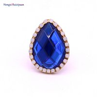 New fashion ring blue rhinestone teardrop shape rings for wo...