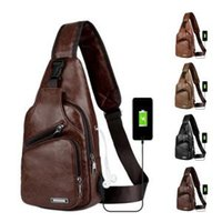 Men PU Chest Pack USB Charging Sling Bag Casual Backpack Cro...