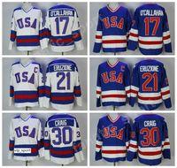 1980 USA Hockey 21 Mike Eruzione Jersey Uomo Blu Bianco 30 Jim Craig 17 Jack Ocallahan Maglie Ricamo e cucito all'ingrosso e al dettaglio