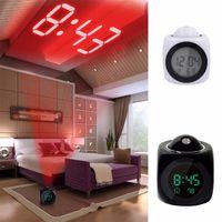 LCD 프로젝션 LED 표시 시간 디지털 알람 시계 음성 안내 온도계 말하기 스누즈 기능적인 책상 알람 시계 DH1113 T03