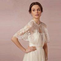 Bolero for Prom Beach Wedding Bridal Dresses Shawl Sleeves Bridal Wraps Lace Applique Beading Bridal Evening Jacket 2020