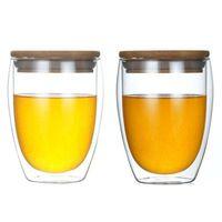 حار بيع الأمازون 350ml البورسليكات مقاومة للحرارة مزدوجة الجدار فنجان القهوة الزجاج مع غطاء الخيزران الشحن مجانا