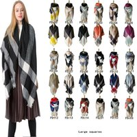 Übergroße Quaste Wraps Lattice Quadrat-Ansatz-Schal mit Fransen Pashmina Winter-Halstuch-Decke Plaid Schal CCA11887 10pcs