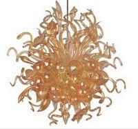 Французский стиль Одноместный Люстра освещение янтарного цвета Современные хрустальные декоративные цепи Подвесной художественного стекла потолочные светильники