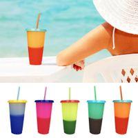 Renk Değiştirme Fincan 700 ML Sihirli Plastik Kapaklı Tumblers İçme Saman Renkli Kahve Kupalar 5 Renkler LJJO7116A
