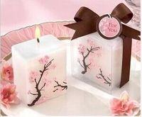 100pcs bougies de mariage sans fumée parfumée cire fleurs de cerisier bougie cadeau de mariage cadeaux faveurs décoration de parti lin4853