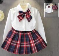 Enfants Designer de détail de Survêtements 2020 Filles Bow Shirt + Plaid Jupes 2 pièces Tenues mode coréenne Costumes manches longues Set Vêtements pour enfants